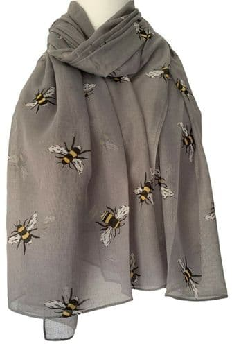 Bee Scarf Ladies Grey Bumble Bees Print Wrap Womens Large Shawl